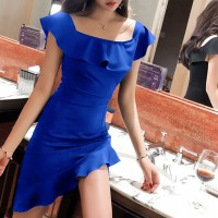 Girls Off Shoulder Collar Slim Irregular Ruffle Hem Dress - Blue