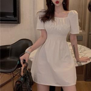 Puff Sleeve Aline Ladies Chic Casual Dress - White