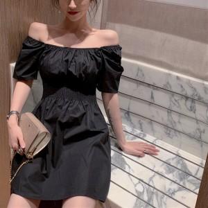 Puff Sleeve Aline Ladies Chic Casual Dress - Black