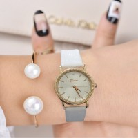 Women Beautiful Luxury Fashion Belt Watch - White Gold