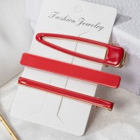 Three Pieces Headwear Clips Set - Red