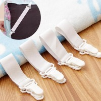4 Pcs Non Slip Bedsheet  Clamp Fasteners Gripper Holders - White