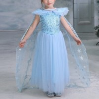 Cute Princess Sequins Decorative Round Neck Girls Party Dress - Blue