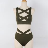Strap Caged Cross Sexy Wear Slim Lingerie Set - Green