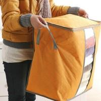 Large Capacity Quilt Duvet Laundry Pillows Non Woven Storage Bag - Orange