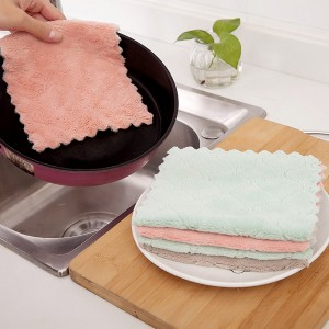 5 Pcs Microfiber Absorbent Kitchen Dish Cleaning Towel - Pink