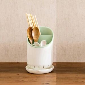 Multifunctional Kitchen Tableware Storage Holder - White Green