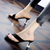Transparent strap Open Toe Chunky Heels For Women - Black