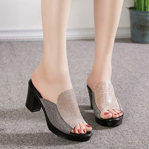 Glitter Fashion Non-Slip Casual Wear Women Heel - Golden