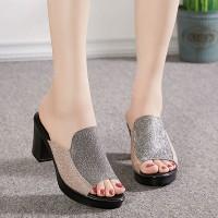 Glitter Fashion Non-Slip Casual Wear Women Heel - Silver