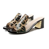 Leopard Design Open Toe Casual Wear Square Heel For Women - Black