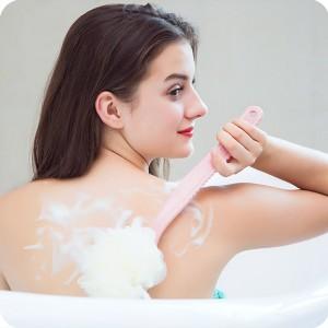 Long Handle 2 in 1 Soft Mesh Body Bath Brush - Pink