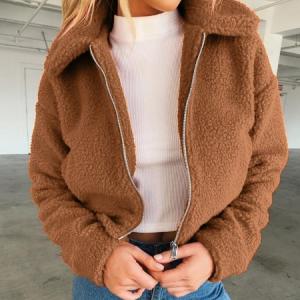 Loose Zipper Closure Winter Wear Full Sleeves Jacket - Brown