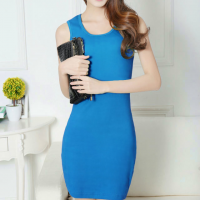 Sleeveless Solid Color Casual Wear Mini Dress - Blue