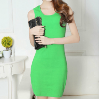 Sleeveless Solid Color Casual Wear Mini Dress - Green