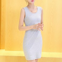 Sleeveless Solid Color Casual Wear Mini Dress - Gray