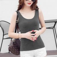 Sleeveless Round Neck Slim Fit Summer Wear Top  - Dark Gray