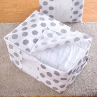 Non Woven Polka Dots Clothing And Blanket Storage Bag - White Gray