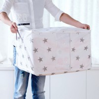 Non Woven Star Design Clothing And Blanket Storage Bag - White