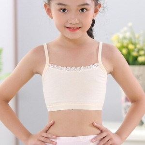 Lace Patched Cotton Fabric Junior Girl Bra - Skin