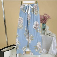 Strapped Waist Floral Printed Loose Wear Bottom Trousers - Blue