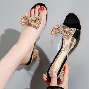 Rhinestone Decorative Party Wear Sandal For Women - Black