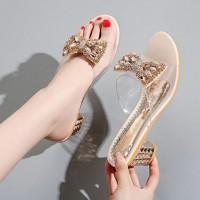 Rhinestone Decorative Party Wear Sandal For Women - Beige