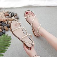 Pearl Decorative Flat Bottom Comfy Wear Sandal - White