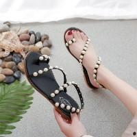 Pearl Decorative Flat Bottom Comfy Wear Sandal - Black