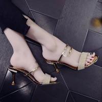 Glitter Stylish Strap Party Wear Women Heel - Golden