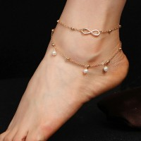 Elegant Pearl Chain Double Layer Girls Anklet - Golden