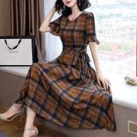 Plaid Design Round Neck Cotton Long Dress - Brown