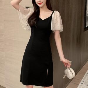 Splicing Show Thin Temperament Skirt Dress - Black