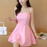Elegant Design Shoulder Strap Solid Color Ladies Dress - Pink
