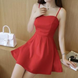 Elegant Design Shoulder Strap Solid Color Ladies Dress - Red