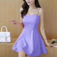 Elegant Design Shoulder Strap Solid Color Ladies Dress - Purple