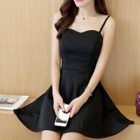 Elegant Design Shoulder Strap Solid Color Ladies Dress - Black