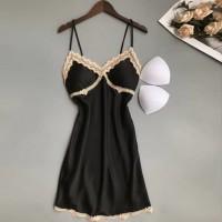 Lace Strap Shoulder Padded Two Pieces Lingerie Sets - Black
