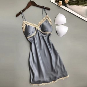 Lace Strap Shoulder Padded Two Pieces Lingerie Sets - Gray