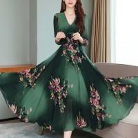 Cross Border Popular Floral Printed Fashion Long Dress - Dark Green