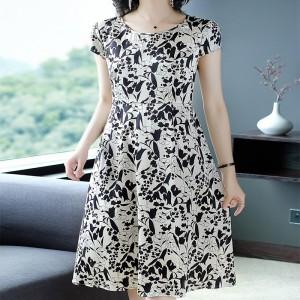 Floral Printed Tights Waist A Line Dress - Black White