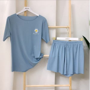 Ribbed Two Piece Casual Wear Women Fashion Top With Shorts Set - Blue