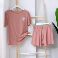 Ribbed Two Piece Casual Wear Women Fashion Top With Shorts Set - Pink