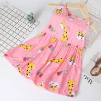 Giraffe Printed Sleeveless Cute Girls Dress - Pink