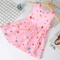 Strawberry Printed Sleeveless Cute Girls Dress - Multicolor