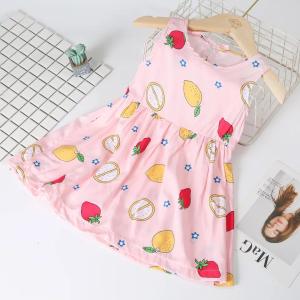 Fruits Printed Sleeveless Cute Girls Dress - Light Pink