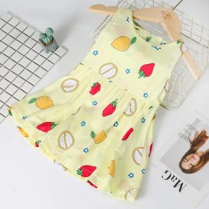 Fruits Printed Sleeveless Cute Girls Dress - Yellow