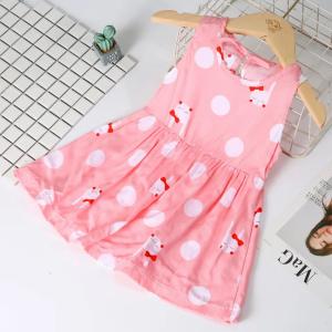 Polka Dots Printed Sleeveless Cute Girls Dress - Rose Pink