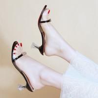 Transparent Strap Chunky Heels Fashion Sandal For Women - Black
