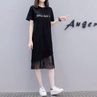 Ladies Alphabetic Short sleeve Loose Slit Long T-shirt Dress - Black